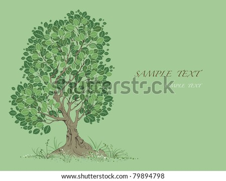vector artistically painted tree with green leaves on a green background. - stock vector