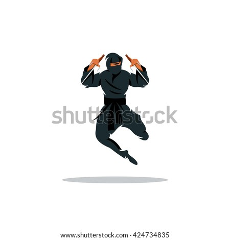 Vector Asian Ninja Cartoon Illustration. Asia Assasin fighter. Warrior in black dress blade strikes in a jump. Branding Identity Corporate unusual Logo isolated on a white background
