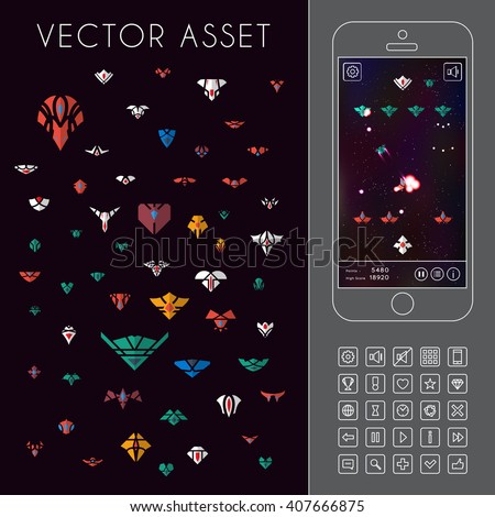 Vector asset for space game interface. Spacecraft sprites and icons - stock vector