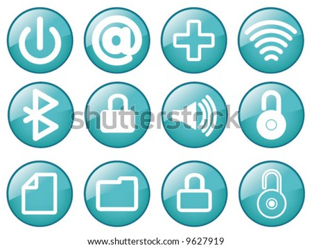 Vector Assorted Glass effect media Icons - stock vector