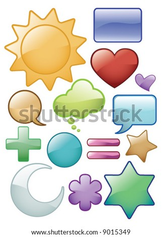 Vector Assorted Glass effect symbols Icons - stock vector