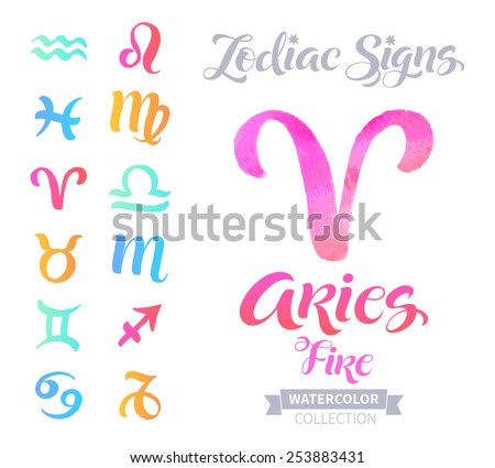 Vector astrology illustrations of the zodiac signs with watercolor elements. Calligraphic inscription: Aries, Fire - stock vector