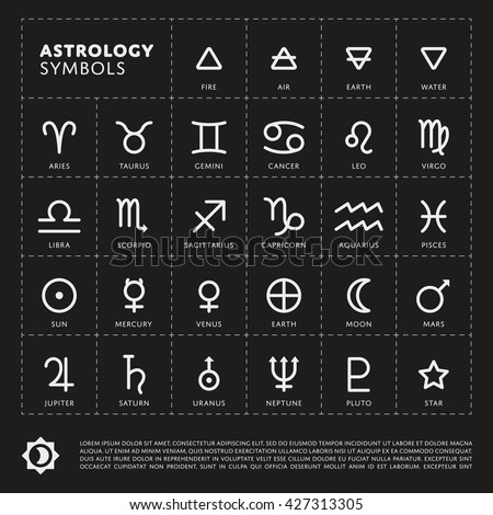 Vector astrology Signs of the zodiac. Planet the Solar system icon. Four elements - stock vector