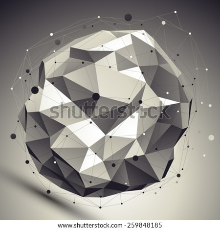 Vector asymmetric 3d abstraction, lattice geometric spherical template, perspective wireframe unusual illustration with wire mesh. - stock vector