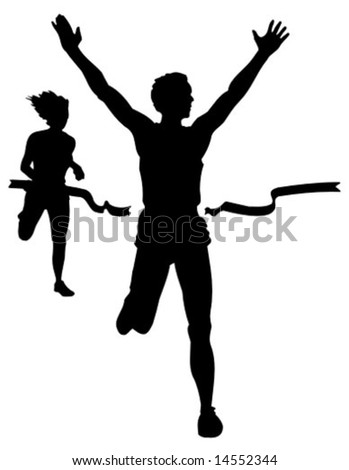 vector athletics silhouette at the finish line - stock vector