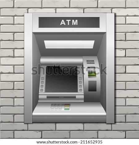 Vector ATM Bank Cash Machine on a Brick Wall Background - stock vector