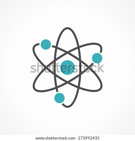 Vector atom icon isolated on white background. - stock vector