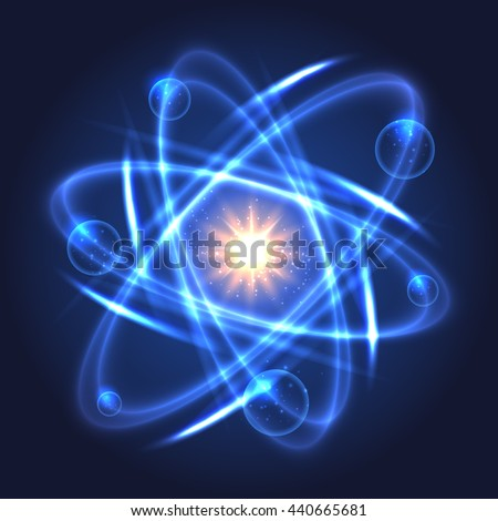 Vector atom icon. Shining nuclear model on dark background