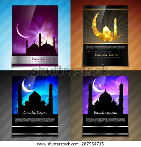 vector attractive set of brochure of ramadan kareem festival illustration - stock vector