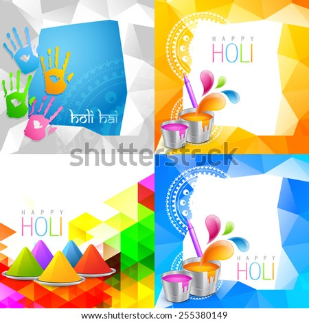 vector attractive set of holi background with space for some text - stock vector