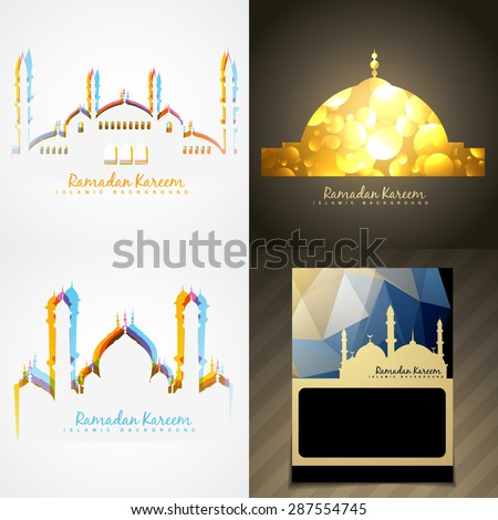 vector attractive set of ramadan kareem festival background illustration - stock vector