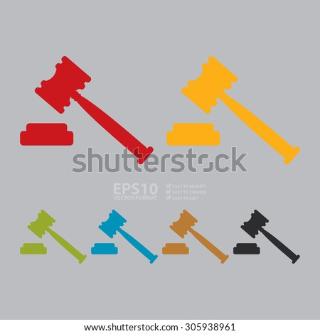 Vector : Auction Hammer Infographics Flat Icon, Sign - stock vector