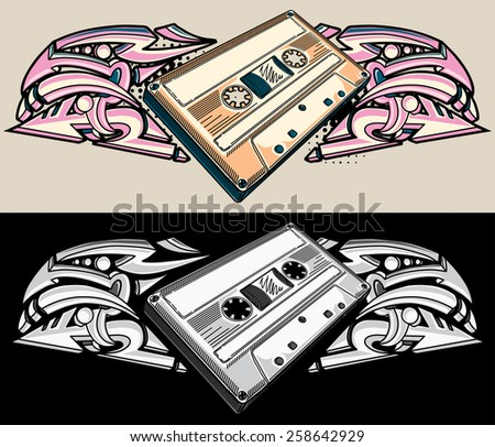 Vector audio cassette and graffiti - stock vector