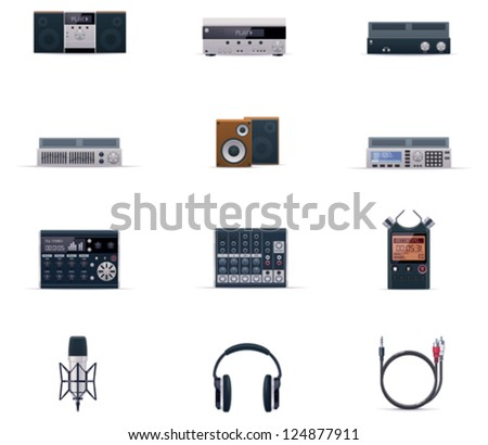 Vector audio electronics icon set. Includes music players, mixers, speakers, recorders, headphones and other equipment