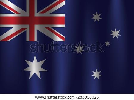 Vector Australia flag, three dimensional render, satin texture, weaving - stock vector