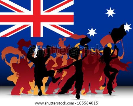 Vector - Australia Sport Fan Crowd with Flag - stock vector
