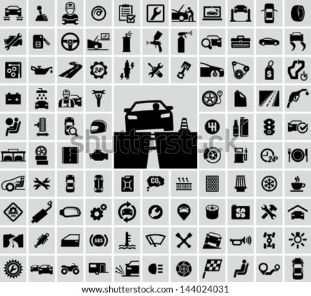 Vector auto icons set - stock vector