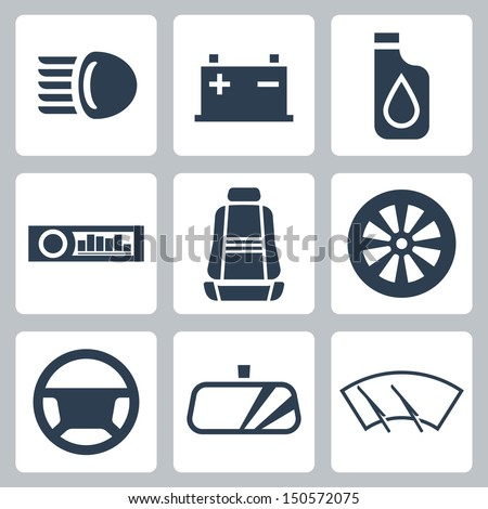 Vector auto parts icons set - stock vector