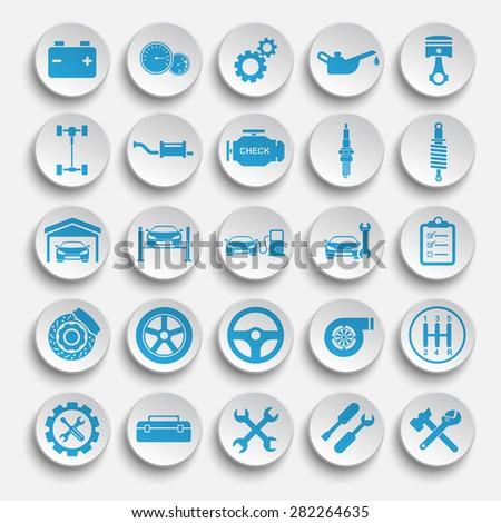 Vector Auto repair Icons - stock vector