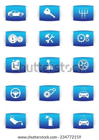 Vector automotive icons - stock vector