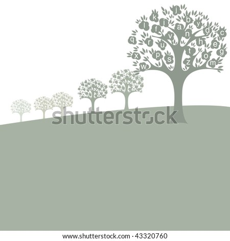 Vector Autumn Alphabet Tree - stock vector