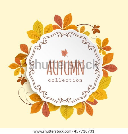 Vector autumn background, cutout paper label, circle frame with fallen yellow chestnut leaves