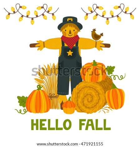 """Vector autumn background with pumpkins, hay bale, wheat sheaf, scarecrow and text """"Hello fall"""". Bright autumn invitation template. Harvest festival card."""