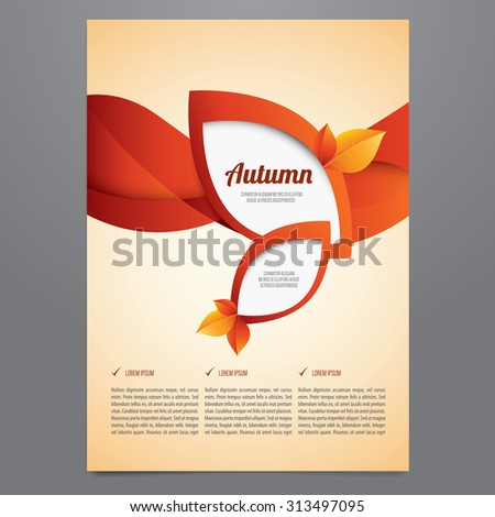 Vector autumn brochure, flyer, poster, magazine cover template. Modern orange and red  leaves design. - stock vector