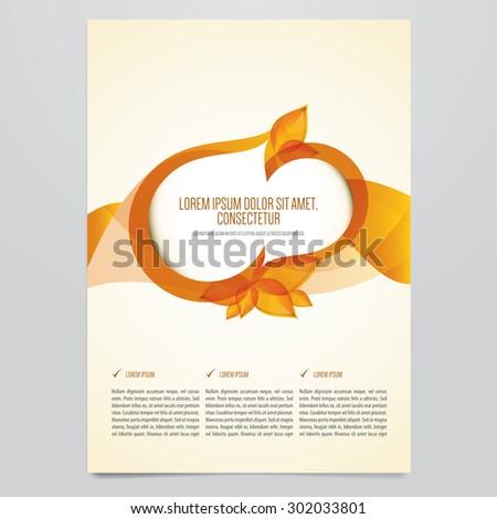Vector autumn brochure, flyer template. Modern orange leaves design. - stock vector