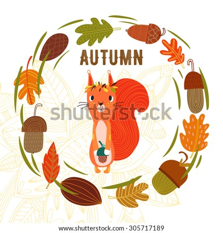 """Vector autumn card with wreath from leaves and acorns. Vintage autumn card with cute little squirrel and text """"Hello autumn"""". -stock vector - stock vector"""