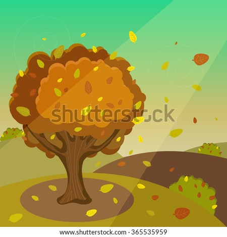 Vector Autumn Cartoon Landscape