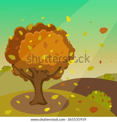Vector Autumn Cartoon Landscape - stock vector