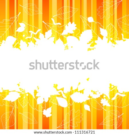 Vector autumn frame with fall leaf silhouette on orange striped background - stock vector