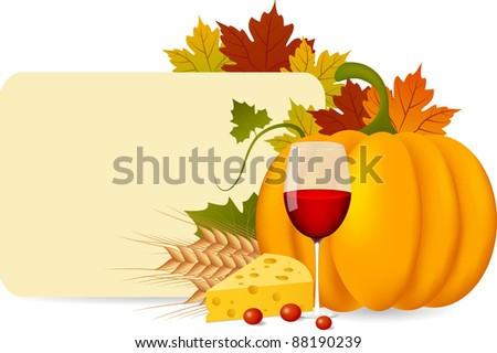 Vector autumn fruits and blank