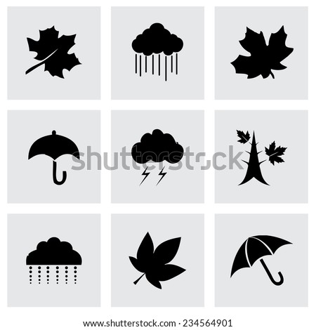 Vector autumn icon set on grey background - stock vector