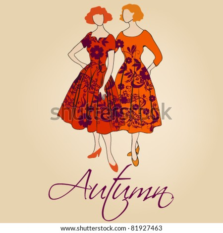 Vector autumn illustration of hand drawn style elegant vintage fashion ladies - stock vector
