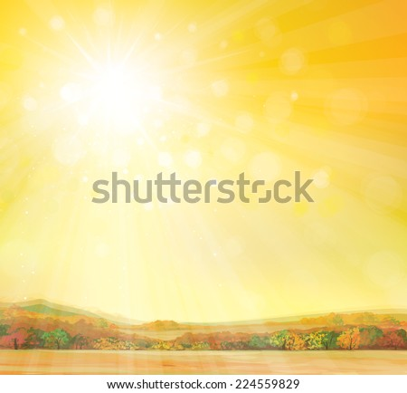 Vector  autumn landscape.  - stock vector