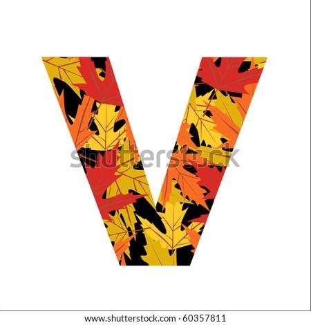 Vector autumn leaves font, letter V - stock vector