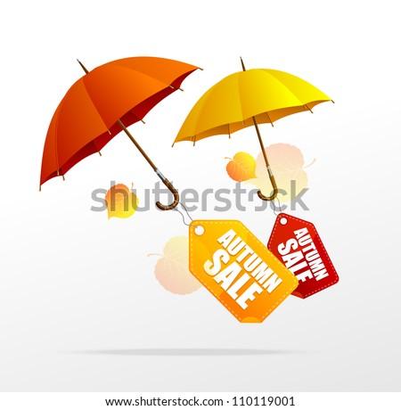 Vector autumn sale labels with umbrellas - stock vector