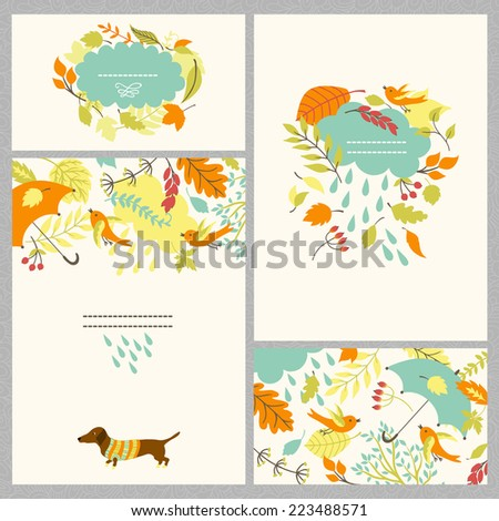 Vector autumn set with four vector cards. Pattern with autumn leaves and birds, round frame, the composition of cloud and foliage. - stock vector