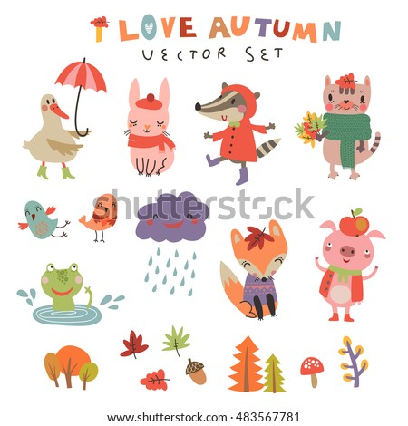 Vector autumn set with the cute animals