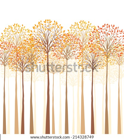 Vector autumn tree on a white background - stock vector