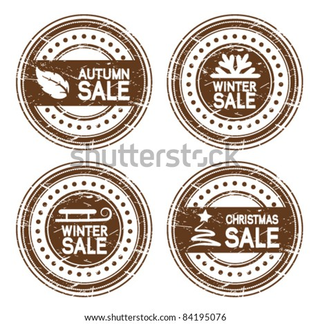 Vector autumn, winter and Christmas sale stamps