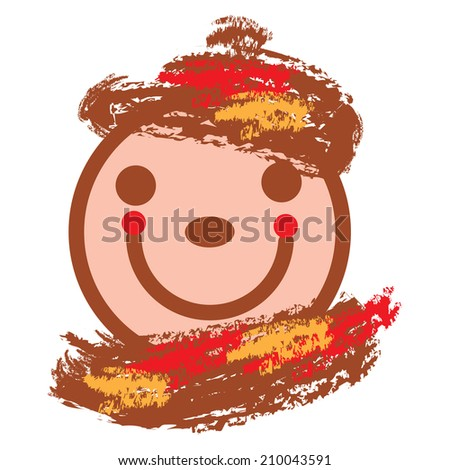 vector autumnal illustration of  smiling face in warm colors