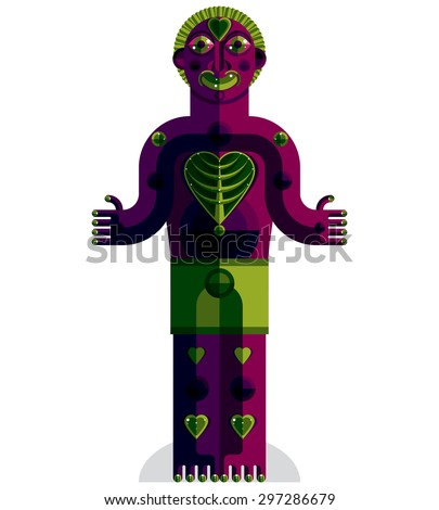 Vector avant-garde illustration of mythic person, pagan symbol.  Modernistic graphic picture, anthropomorphic character isolated. Tree of life concept. - stock vector