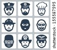 Vector avatar/profession/occupation icons set: police officer, captain, chef, ranger, anti-terrorist, robber, surgeon, fireman, pilot - stock vector