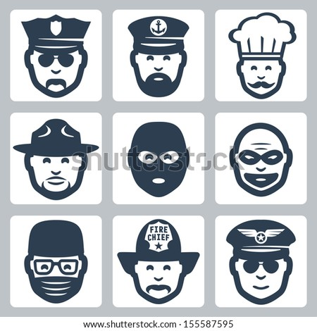 Vector avatar/profession/occupation icons set: police officer, captain, chef, ranger, anti-terrorist, robber, surgeon, fireman, pilot - stock vector