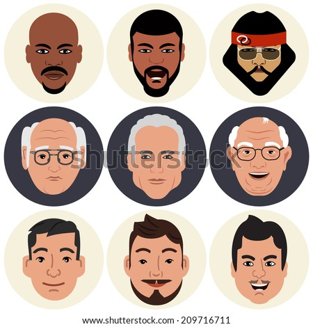 Vector Avatars - Male Faces  - stock vector