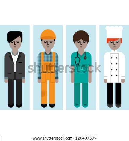 vector avatars. Male set - stock vector