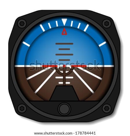 vector aviation airplane attitude indicator - artificial gyroscope horizon - stock vector